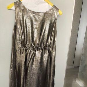 Silvery goldish  lame Designer Cocktail Dress